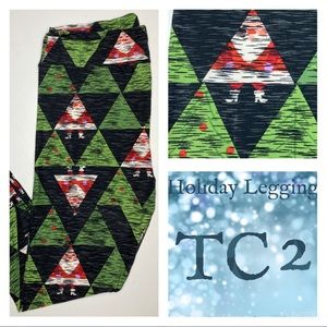 LuLaRoe TC2 Adult Holiday Leggings Woodcut Santa